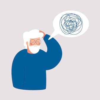 De oudere man heeft een depressie met verbijsterde gedachten in haar hoofd.