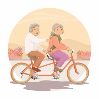 De oudere personen. opa en oma rijden samen op een tandem