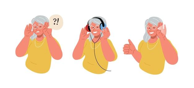 De oudere vrouw is doof oude dame doet een gehoortest platte vectorillustratie