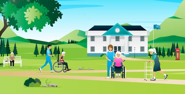 De ouderen rusten en lopen met de verpleegsters in het verpleeghuis