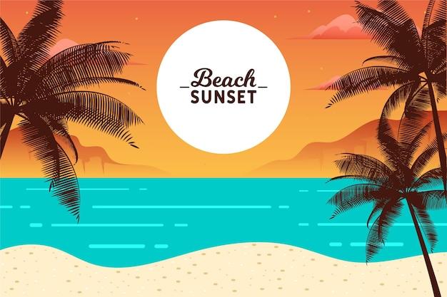 De palm van het strandzonsondergang silhouetten en oceaangolven