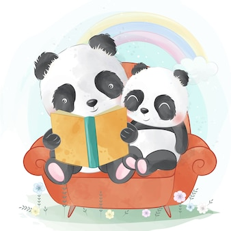 De panda vertelt een verhaal aan de babypanda