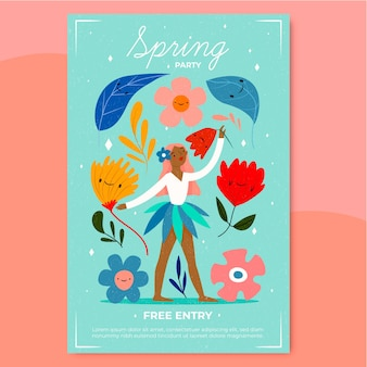 De partijaffiche van de lente met vrouw die tussen bloemen danst