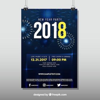 De partijaffiche van het donkerblauwe nieuwe jaar met vuurwerk