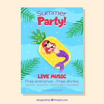 De partijuitnodiging van de zomer met meermin in vlotter