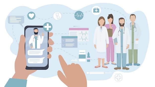 De patiënt communiceert online met de arts