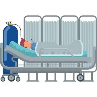 De patiënt voelt zich moeilijk te ademen en moet een zuurstofmasker gebruiken