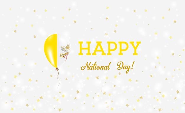 De patriottische poster van de nationale dag van het vatikaan. vliegende rubberen ballon in de kleuren van de italiaanse vlag. vaticaanse nationale feestdag achtergrond met ballon, confetti, sterren, bokeh en sparkles.