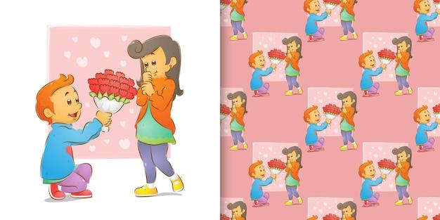 De patroonreeks van de man die bloemen geeft en geknielde liefde met een vrouw