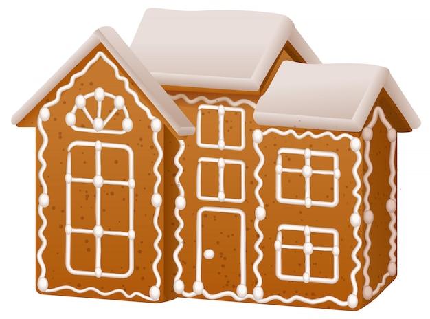 De peperkoekhuis van kerstmis met suikersuikerglazuur
