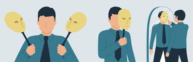 De persona verbergt zijn identiteit onder een masker