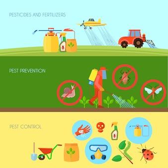 De pesticiden en de meststoffen horizontale die achtergrond met ongediertebestrijdingssymbolen wordt geplaatst platten vlak vectorillustratie