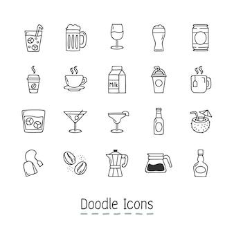 De pictogrammen van de drank van de doodle.