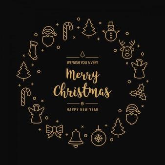De pictogrammen van de kerstmisgroet omcirkelen gouden zwarte achtergrond Premium Vector