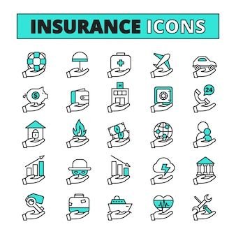 De pictogrammen van de verzekeringslijn die met bezitsvervoer en de symbolen van de levensveiligheids vlak geïsoleerde vectorillustratie worden geplaatst