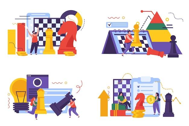 De pictogrammen van het bedrijfsstrategieconcept die met de vlakke geïsoleerde illustratie van schaaksymbolen worden geplaatst