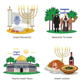 De pictogrammen van het de reisconcept van israël die met reizen en keuken worden geplaatst isoleerden vlak geïsoleerde illustratie