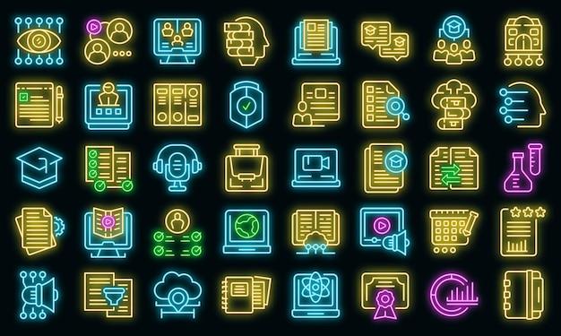 De pictogrammen van het leerbeheersysteem stellen overzichtsvector in. laptopmachine. online onderwijs