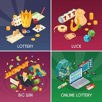 De pictogrammen van het loterijconcept met geluk en winstsymbolen worden geplaatst isometrische geïsoleerde vectorillustratie die