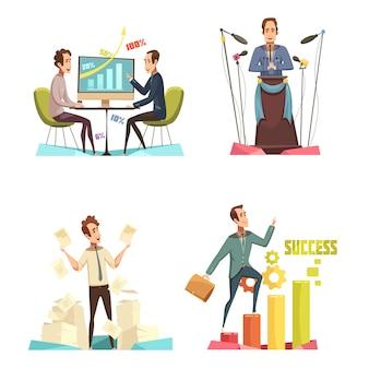 De pictogrammen van het vergaderingsconcept met het beeldverhaal geïsoleerde vectorillustratie die van successymbolen worden geplaatst
