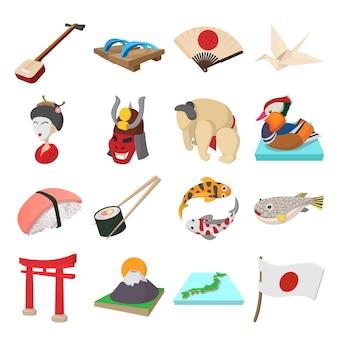 De pictogrammen van japan in beeldverhaalstijl geïsoleerde vector die worden geplaatst