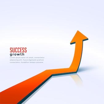 De pijl die van de bedrijfssuccesgroei stijgende achtergrond beweegt