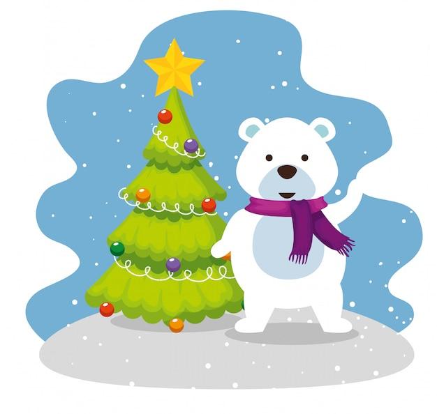 De pijnboom van kerstmis met sneeuw draagt
