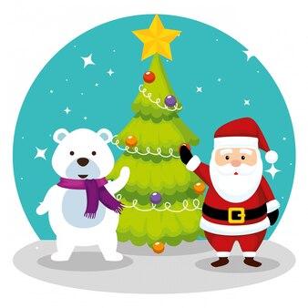 De pijnboomboom met de kerstman en de sneeuw dragen
