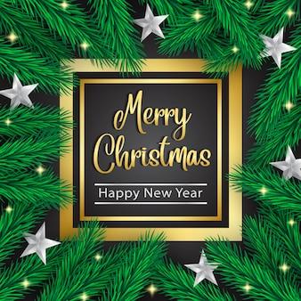De pijnboomkroon van kerstmis en zilveren sterren