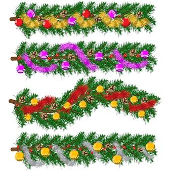 De pijnboomslinger van kerstmis met klatergoud, ballen en kegels. vector cartoon vakantie set decoratieve elementen geïsoleerd.