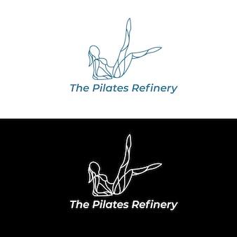 De pilates raffinaderij logo vectorillustratie