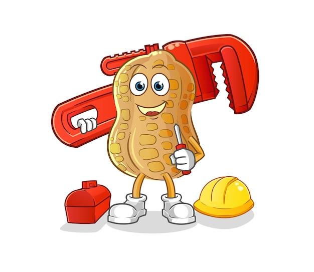 De pinda-loodgieter cartoon. cartoon mascotte