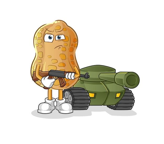 De pindasoldaat met tankkarakter. cartoon mascotte