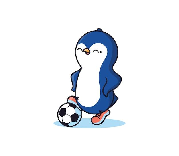 De pinguïn is een voetballer.