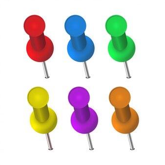 De pinnen van verschillende kleuren ingesteld
