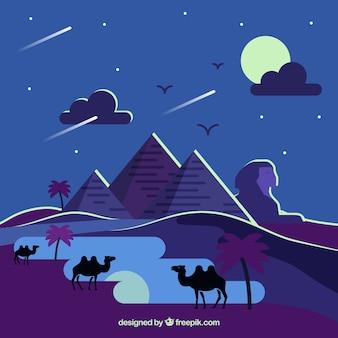 De piramideslandschap van egypte met kameelcaravan in de nacht