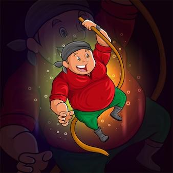 De piratenman houdt het touw esport-logo-ontwerp van illustratie vast