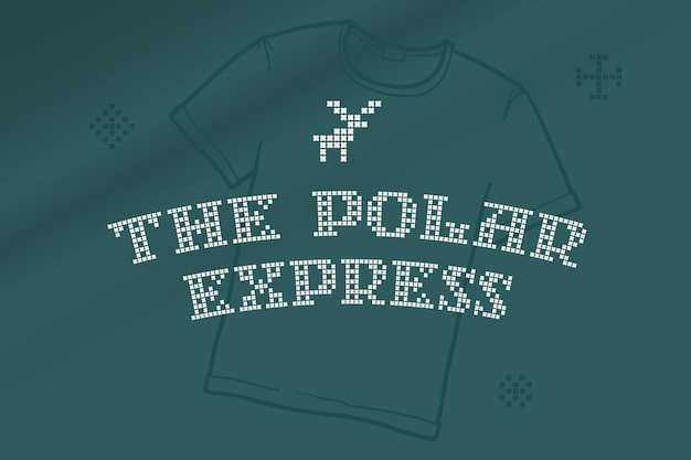 De polar express-letters zijn gemaakt van dikke ronde breisels platte stijlbord met een set bonuspictogrammen