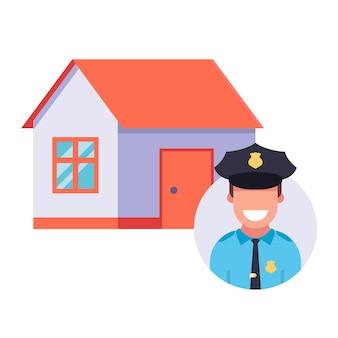 De politie bewaakt een woonhuis.