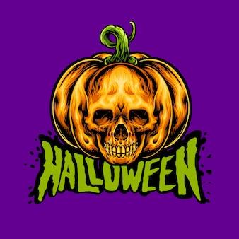 De pompoenschedel van halloween