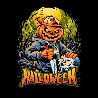 De pompoenverschrikking van halloween