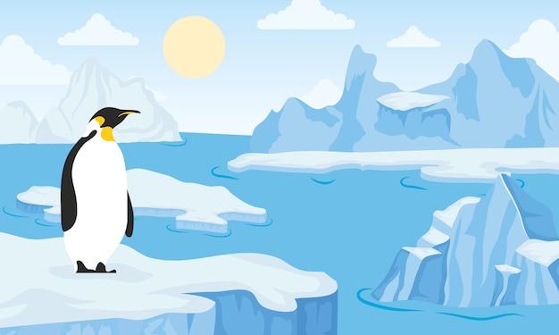 De poolscène van het ijsbergblok met pinguïn
