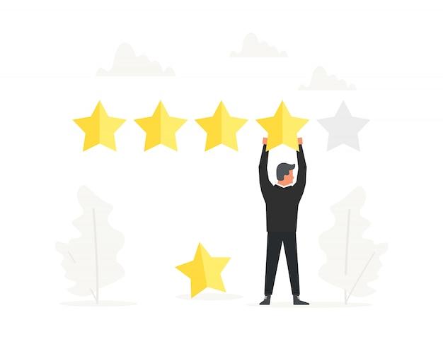 De positieve beoordeling van de zakenman en houdt grote ster lucht.