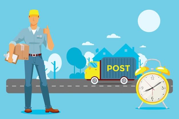 De post levert op tijd pakket, klokillustratie. timer detecteert hoeveel tijd de machine na bestelling levert, rit op de snelweg
