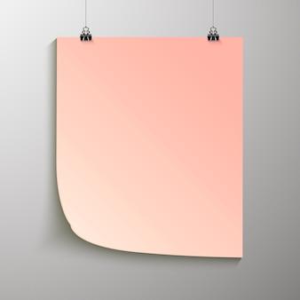 De poster hangt aan een ringband. achtergrond met een blanco papierlay-out. de indeling van de indeling. verticaal sjabloonblad