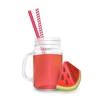 De pot met smoothies van watermeloen met gestreept rietje voor cocktails