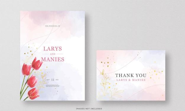 De prachtige aquarel van de huwelijksuitnodiging en bedankkaart