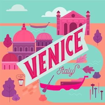 De prachtige stad venetië belettering