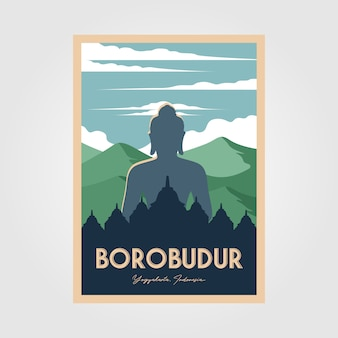 De prachtige vintage poster van de borobudur-tempel