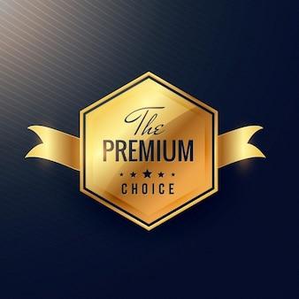 De premie keuze gouden label met lint
